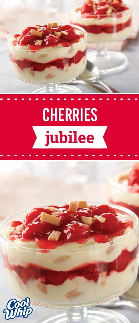 Cherries Jubilee – Make any occasion a celebration when you serve this pretty, festive, and fruity treat. With pudding, almonds, and cherry pie filling found inside, this dessert is great to serve to holiday party guests.