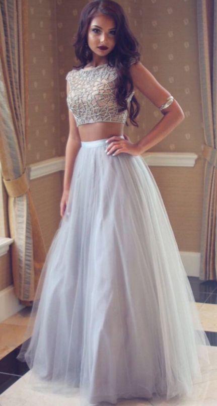 hite Prom Dresses, Wampagne Long dresses, Prom Dresses White, White Long Prom Dresses, White Beaded dresses, Tulle Prom Dresses, Long Champagne dr...