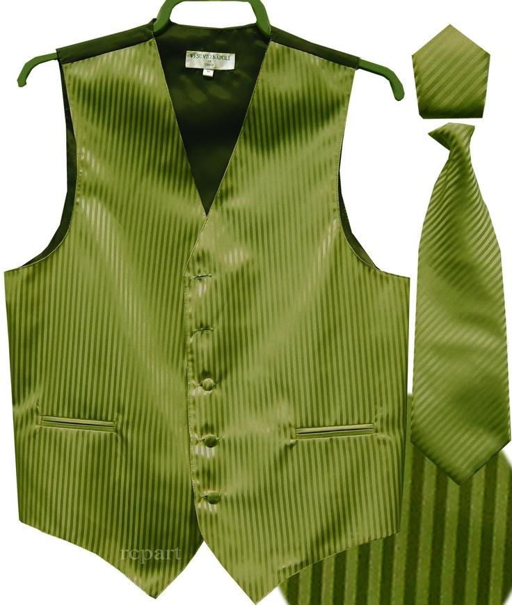 New Men's Tuxedo Vest Waistcoat Necktie Set Stripes Wedding Prom Olive Green