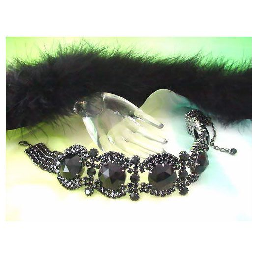 Gorgeous Black Czech Rhinestone Necklace/Choker | Strass Halsband | Schwarz | Exklusivmodell *kla041 - JAUL.biz Perlen und Glas