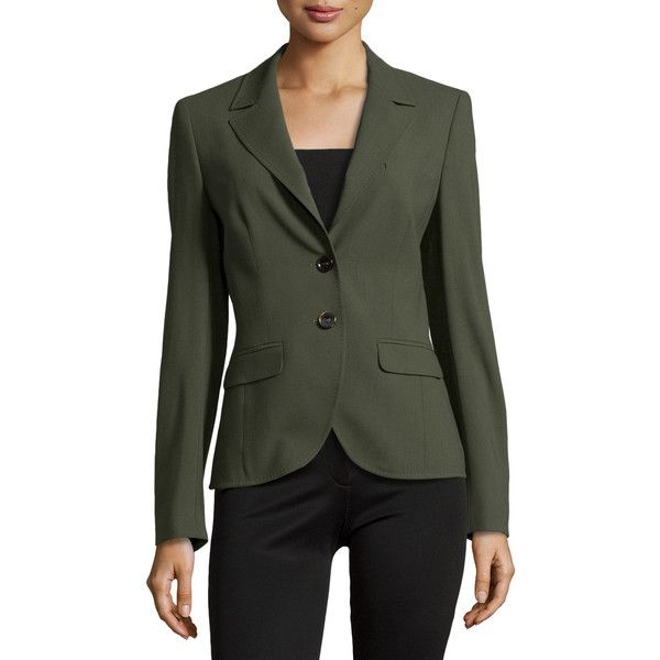 Escada BASKET WEAVE WOVEN BLAZER (600 CHF) ❤ liked on Polyvore featuring outerwear, jackets, blazers, olive, olive jacket, olive green jacket, escada jacket, olive green blazer and army green jacket