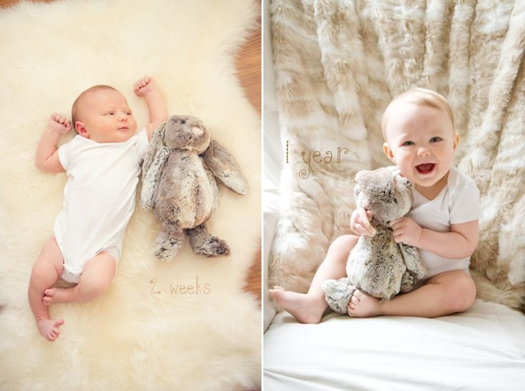 From one week to one year.  Documenting baby's growth with monthly pictures.