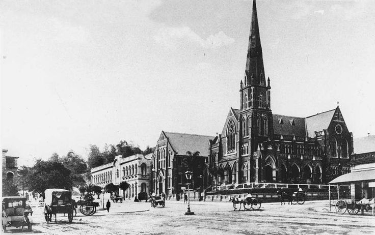 Albert Street Methodist Church (now called Albert Street Uniting Church), Albert Hall, and Water and Sewerage Board Offices, Brisbane, ca. 1910  - Scene at the corner of Albert and Ann Streets. Horsedrawn carriages can be seen on the road. The Albert Street Methodist Church stands on the corner next to the Albert Hall and the Sewerage Board Offices.