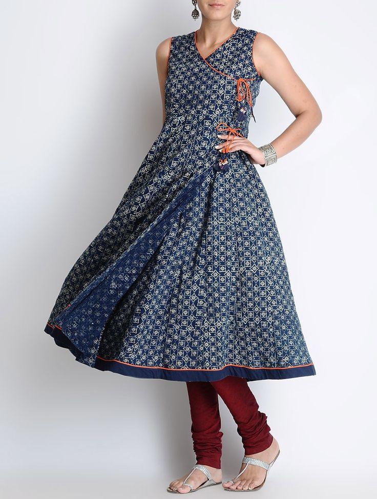 Buy Blue-Ecru Ajrakh Printed Cotton Sleeveless Kalidar Angrakha Online at Jaypore.com