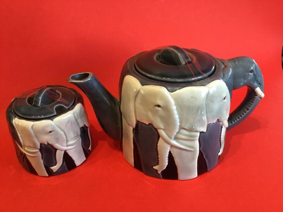 OTAGIRI Tom Taylor Design Elephant Teapot And by ModernJunkGypsy