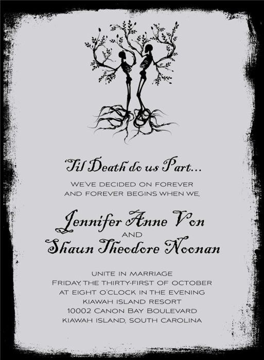 Skeleton Wedding Grey Halloween Invitations