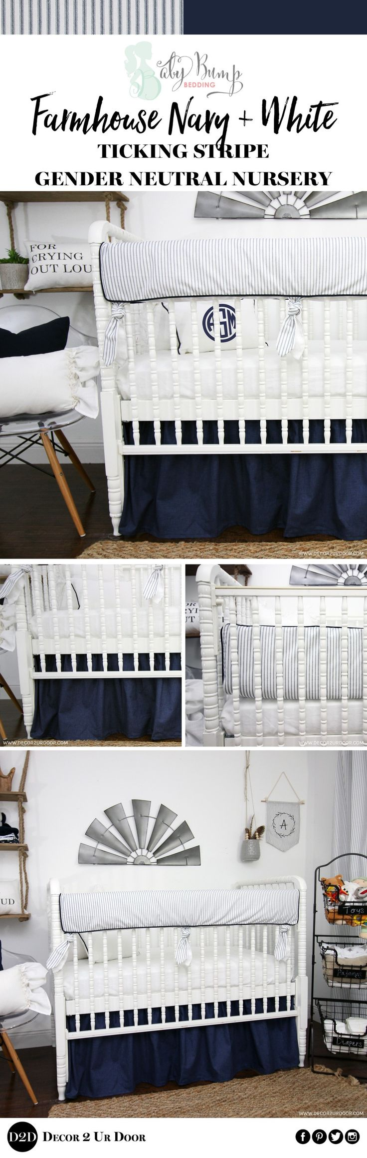 Tick tock, tick tock! Your dream farmhouse baby bedding is waiting! This navy and white ticking stripe features ourBBB exclusive(and brand new!) ties. Navy and white - and everything right! We adore this farmhouse nursery bedding look complete with the most beautiful ties, frills, ticking stripe, and trim you have ever seen! Fixer Upper your baby nursery room - BBB style!