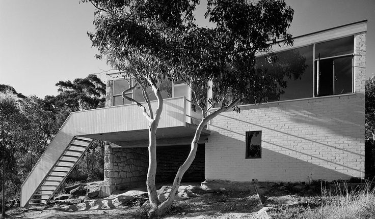 """J Tuck House, Gordon. 1952. """"The Tuck House was built in the centre of Sydney's leafy north shore in the early 1950s as an example of good modern design for people 'of modest means'. Small and compact in overall size, but visually enlarged by extensive views of the garden and bushland, the open-plan layout remains as 'modern' and practical in the 21st century as it did over 60 years ago."""""""
