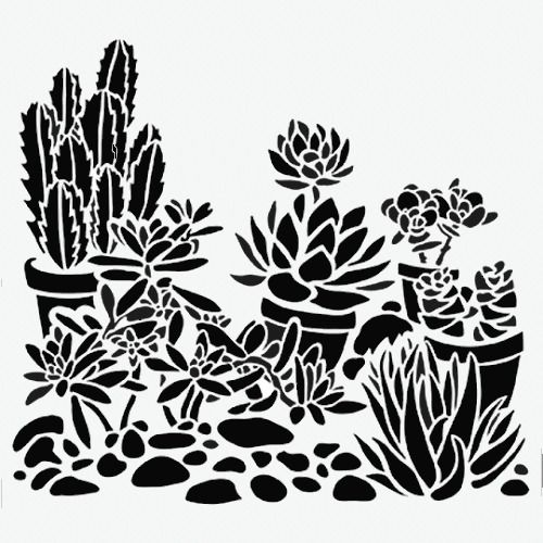 "CACTUS STENCIL PLANT BACKGROUND TEMPLATES PATTERN TEMPLATE STENCILS NEW 6"" X 6"" #TCW"