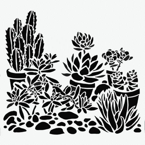 "CACTUS STENCIL PLANT BACKGROUND TEMPLATES PATTERN TEMPLATE STENCILS NEW 6"" X 6"" #TCW"
