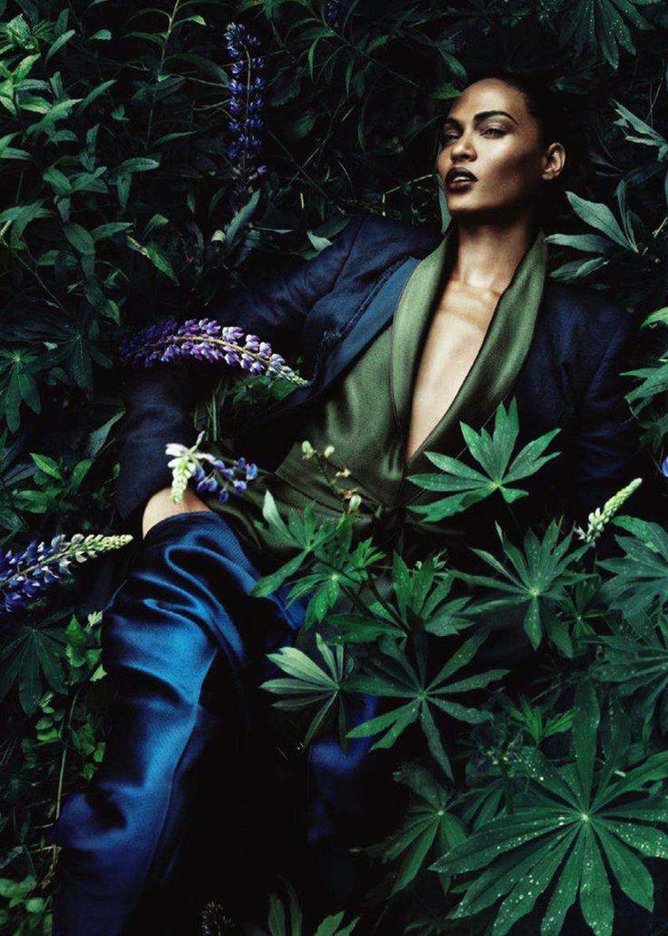 Deep blue satin and green - Joan Smalls in Haider Ackermann  Ph: Sølve Sundsbø…