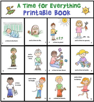 """A Time for Everything"""" Printable Book. Link also has a clock idea for the same passage."""