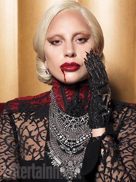 "The Countess kills with the claws of a chain-mail glove ­designed by L.A. accessories wiz Michael Schmidt, who has created custom ­pieces for Cher and Madonna. Murphy wanted it to look ""both rock & roll and old at the same time,"" says Eyrich. ""The nails have diamonds on the edge to slice."" #AHSHotel   Image Credit: Michael Avedon for EW."