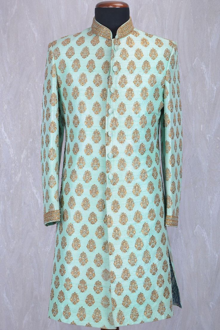 Mint Green Raw Silk Sequins Embroidered IndoWestern Sherwani-IW920