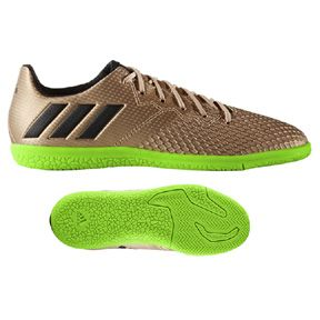adidas Youth Lionel Messi 16.3 Indoor Soccer Shoes (Copper/Green): http://www.soccerevolution.com/store/products/ADI_13161_F.php