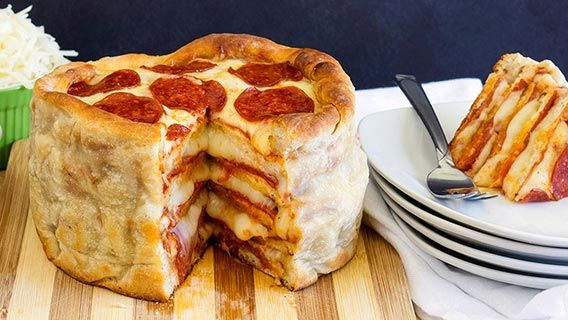 Pepperoni Pizza Cake -- Take family night to new heights with this fun new way to make homemade pizza.