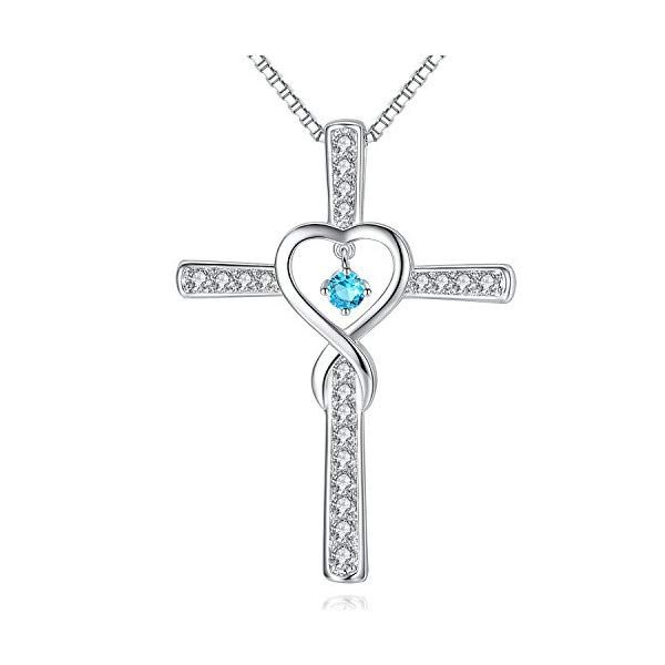 Fine Jewelry Gift Love Hearts Infinity Necklace Simulated Diamond April Birthstone Sterling Silver Jewelry for Mom Wife Women Girls