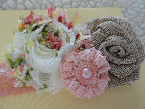 Infant/Baby/Toddler/Little Girl Handmade Headband / Fall Autumn Headband, Natural Earth Tones / Shabby Chic Vintage / Chiffon Flowers, Lace