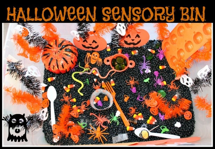 Halloween sensory bin for children and individuals with autism