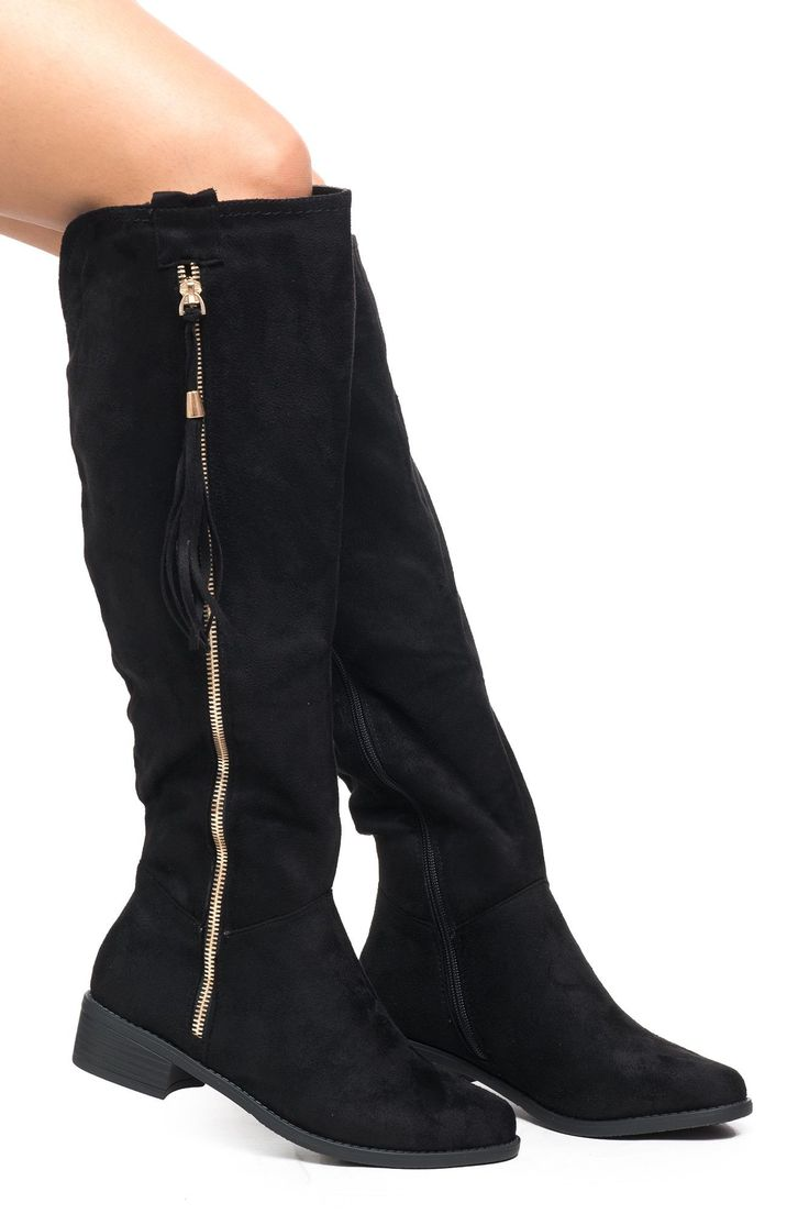 FAUX SUEDE SIDE ZIP KNEE HIGH BOOT - SALE