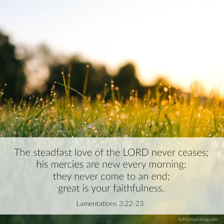 Lamentations 3:22-23: The steadfast love of the LORD never ceases; his mercies are new every morning; they never come to an end; great is your faithfulness. // ItsPositiveLiving.com // #Christian #Christianity #gospel #bible #jesus #faith #god #scripture