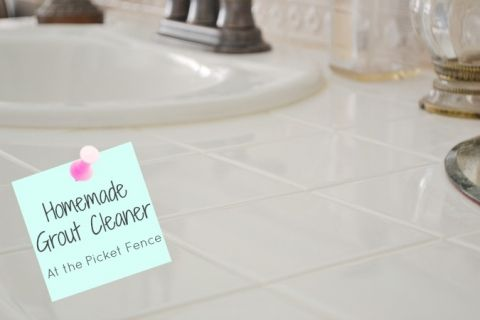 How to make All Natural Homemade Grout Cleaner from At The Picket Fence