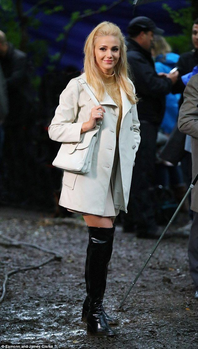 Transformation: Michelle Keegan was sowcasing her newly lightened locks as she stepped onto the set of her new ITV drama, Tina and Bobby, in Manchester on Monday