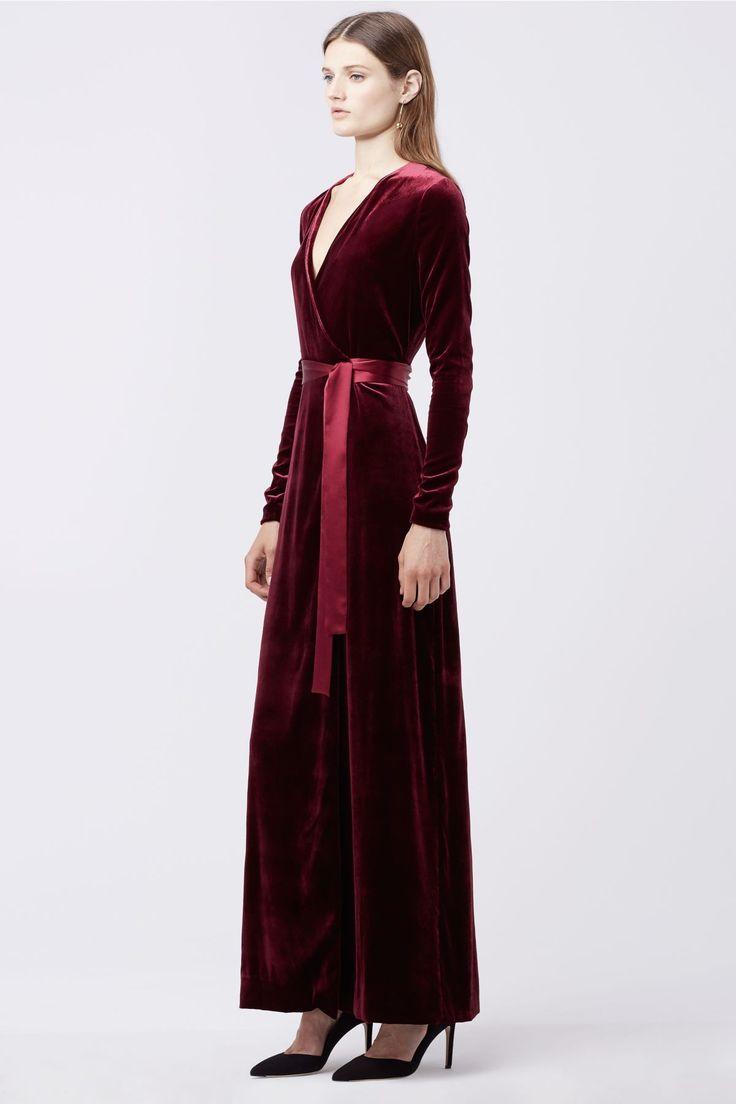 Julian Long Velvet Wrap Dress DVF burgundy