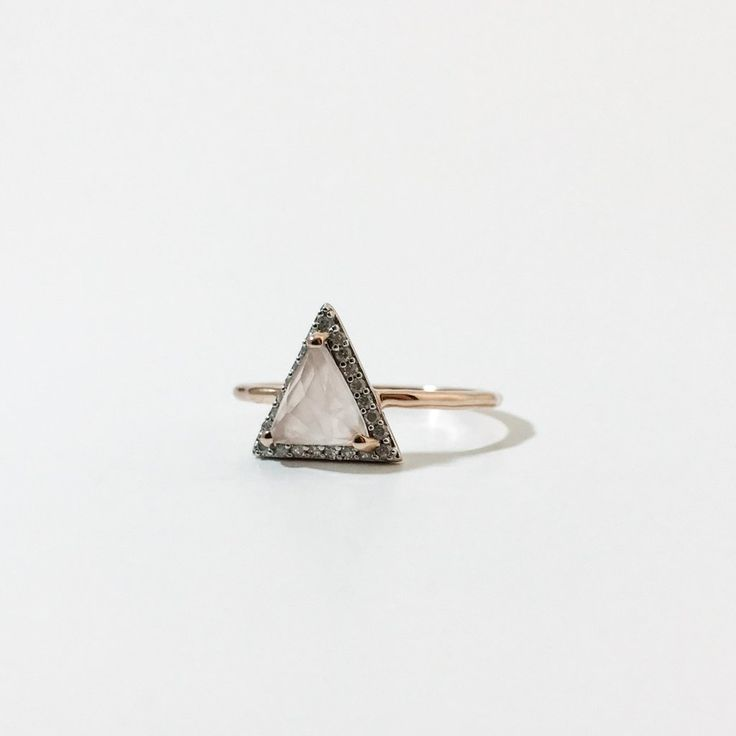 Rose Gold & Diamond Triangle Ring - local eclectic - 1