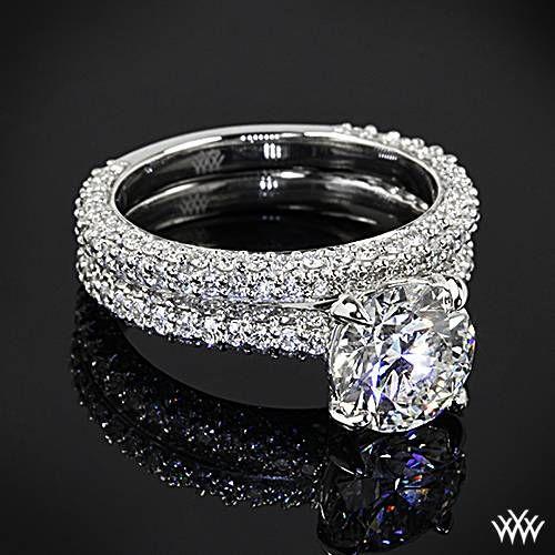 """Elegantly styled,  """"Elena Rounded Pave"""" Diamond Wedding Set"""