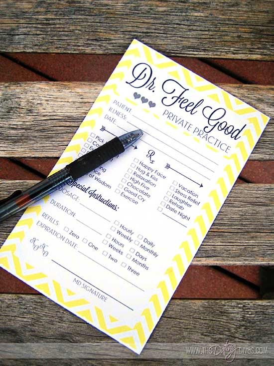A Printable Prescription {Cheer Up Gift For Your Sweetheart}