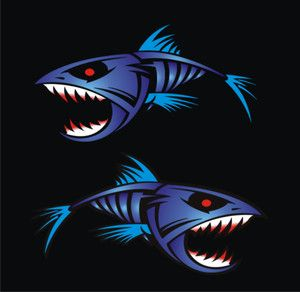 Fish Decals Blue Piranha Boat Graphics Stickers Fishing