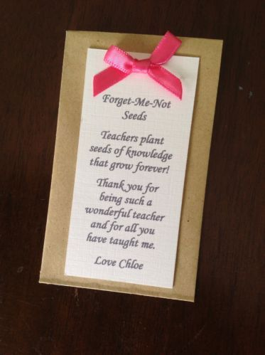 Personalised Forget Me Not Seed Pack for Teachers leaving thank you gift poem