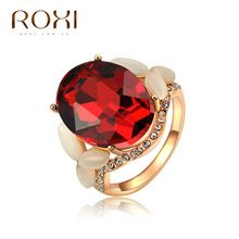 Roxi Design de luxo vermelhas de cristal anel de opala rosa banhado a ouro de casamento / anéis de noivado com AAA Zircon bijuterias(China (Mainland))