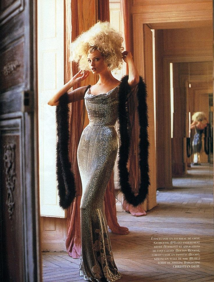 Pour se griser de gris, Joyce Avenue International September/October 1997.  Photographer: Cees Van Gelderen  John Galliano for Christian Dior Fall Winter 1997 Haute Couture