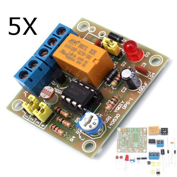 5pcs diy luz accionó el kit del interruptor del tablero del módulo del interruptor de control de la luz con la CC fotosensible 5-6v