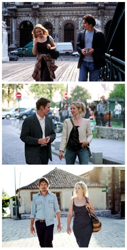 Ethan Hawke & Julie Delpy. Before Sunrise. Before Sunset. Before Midnight. Really interesting trilogy. Highly recommended by me.