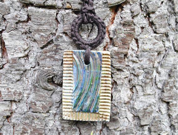 Brown necklace raku ceramic pendant / by AliquidTextileJewels, €60.00