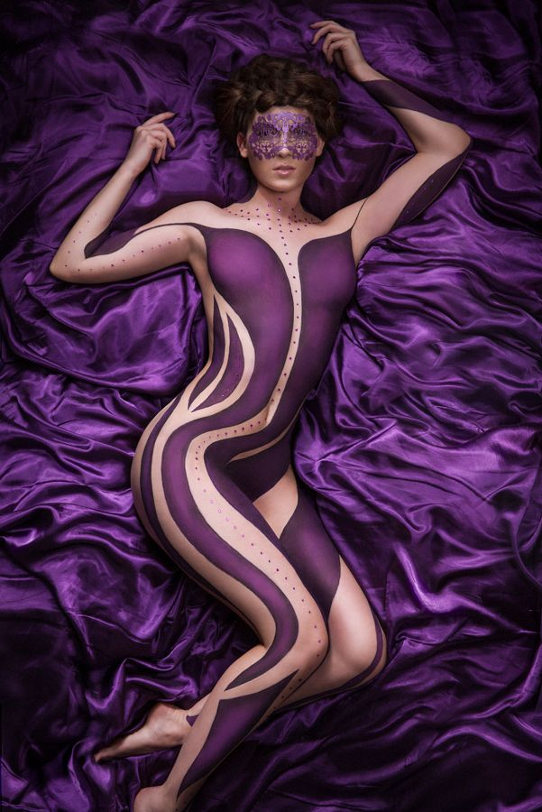 #Purple #bodypainting #bodypaint using #MAC #FaceLace and #MakeupForever by #TinaBrocklebank Photo by #Ched53 Hair by Rachel Courtney at #HealingManor Model - #SianaHemmings www.tinabrocklebank.co.uk