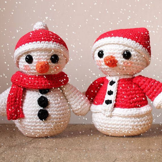 Snowmen Christmas Patterns. Amigurumi PDF Snowman by Mindundia ~ adorable pair ~ CROCHET ~ easy