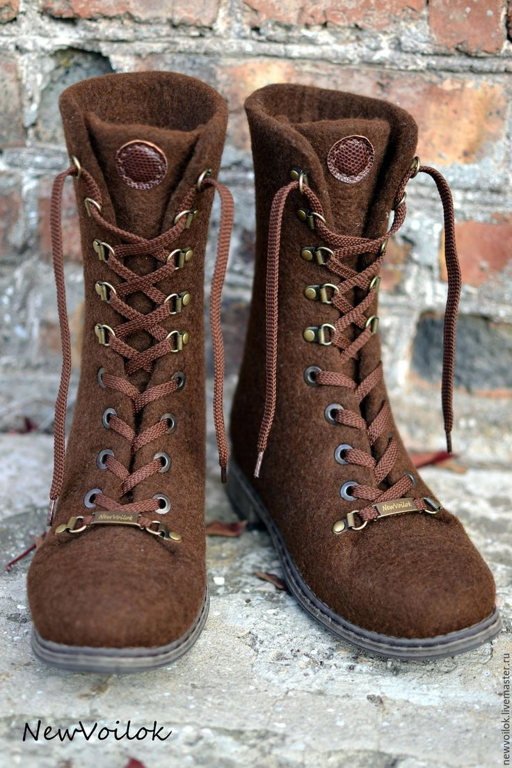 """Купить Ботинки валяные женские """"В шоколаде"""" - ботинки, ботинки валяные, Валяные ботинки"""