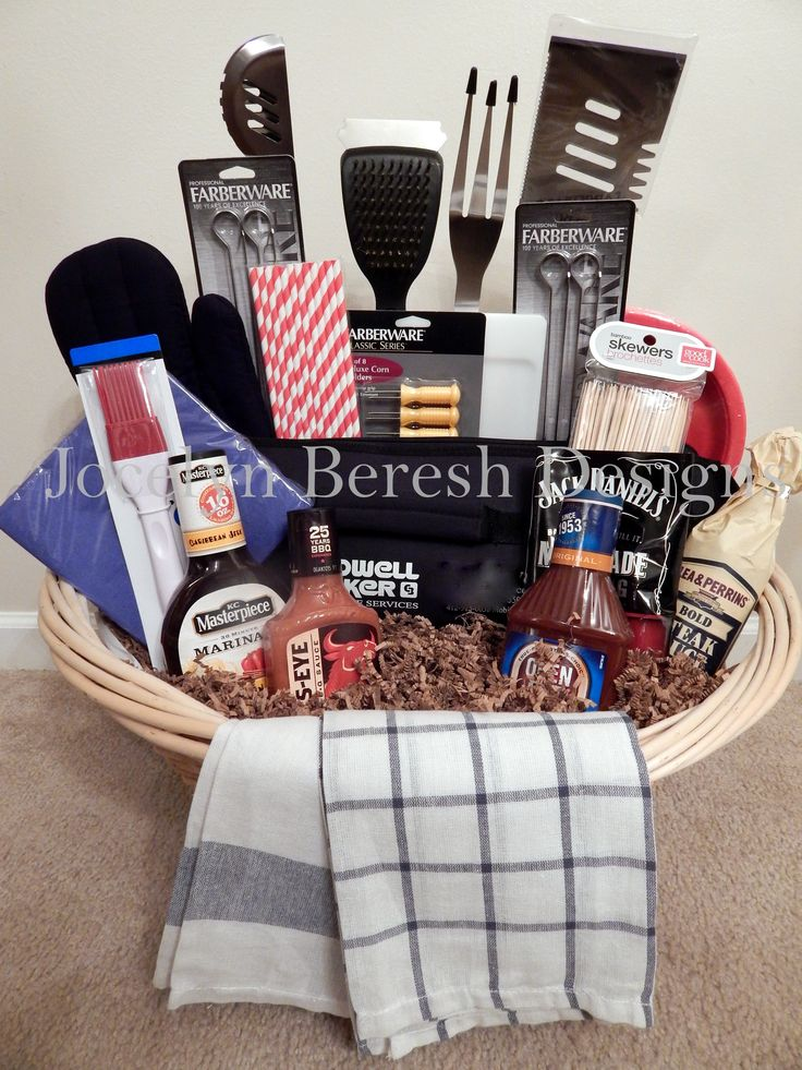 """Get Your Grill On"" Basket by #JocelynBereshDesigns.  Check us out on FB.  Grilling Basket.  Home.  Father's Day.  Gift Baskets for Men.  Luxury Gift Baskets.  Custom Gift Basket."
