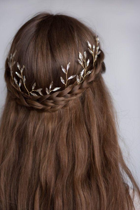 Casco de cristal Leaf etherial, art decó, diadema cristal, tocado de novia, tiara de diamantes de imitación tiara vintage, boho casco #146