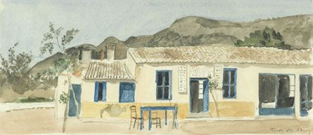 Yiannis Tsarouchis -  Coffee-house at Porto Rafti 1962 Water-colour on paper, 18.4 x 35.8 cm Inv. No. 782