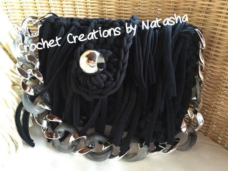 Black handmade crochet bag with fringes and silver details #crochetcreationsbynatasha #itshandmade #crochetbag #summerbag  #black silver