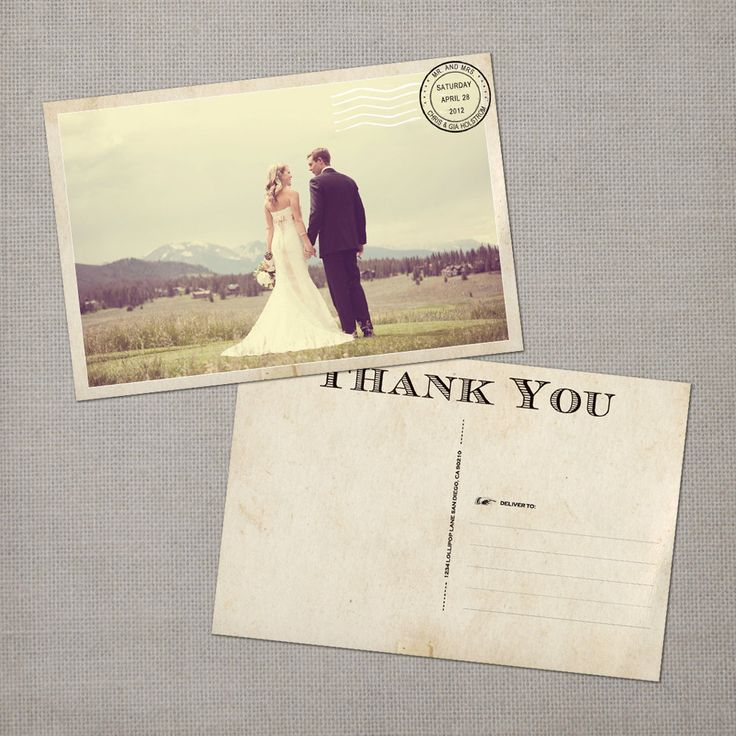 Vintage Wedding Postcard Thank You