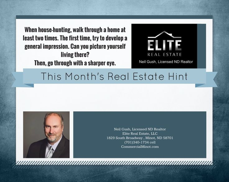 For all your commercial and residential real estate needs call Neil Gush, CRS, MRP, MSM, SFR Licensed ND Realtor with Elite Real Estate, LLC located at 1829 South Broadway, Minot, ND 58701  (701)340-1734 cell www.EliteRealEstateND.com?utm_content=buffer9d046&utm_medium=social&utm_source=pinterest.com&utm_campaign=buffer