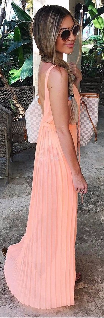 peach shade maxi dress