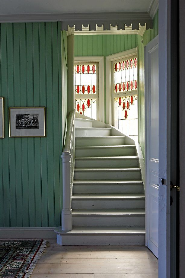 The staircase. Heirloom house from the 1900s in Sweden: