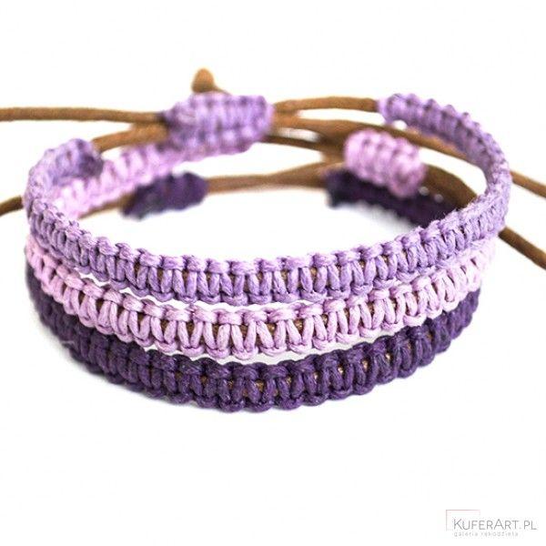 Fiolety - trzy makramowe bransoletki - Bransoletki - Biżuteria artystyczna